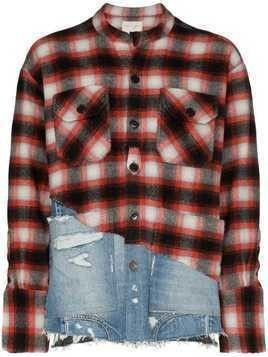Greg Lauren 50/50 plaid denim shirt - Red