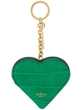 Mulberry Heart Portrait croc-effect keyring - Green