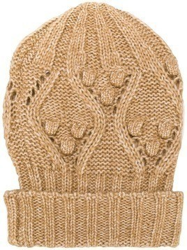 Twin-Set cable knit beanie - Neutrals