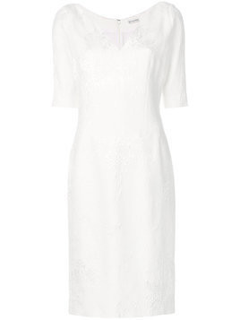 Emanuel Ungaro fitted V-neck dress - White