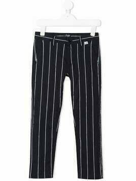 Il Gufo cotton pinstripe trousers - Blue