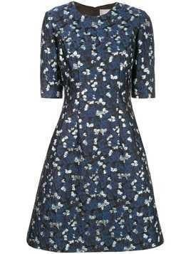 Lela Rose metallic print dress - Blue