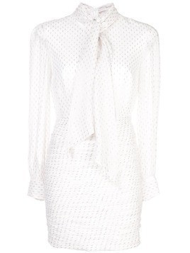Haney scarf-detail fitted mini dress - White