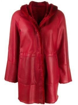 Drome single breasted leather coat - Red