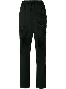 Almaz embellished distressed trousers - Black