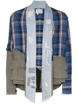 Greg Lauren 50/50 shredded denim plaid jacket - Blue