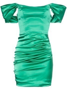 De La Vali Guadalupe ruched satin mini dress - Green