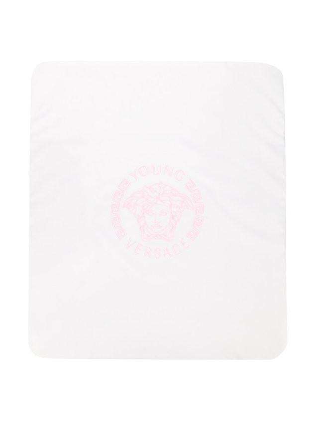 Young Versace logo-embroidered blanket - White