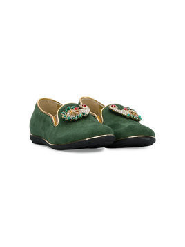 Quis Quis crystal-embellished slippers - Green