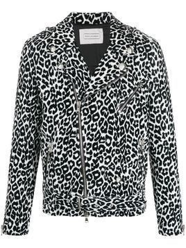 Route Des Garden leopard off-center zip jacket - Black