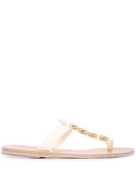Ancient Greek Sandals Iris gold shell sandals - White