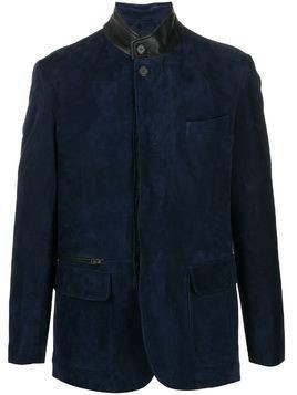 Brioni two tone leather jacket - Blue