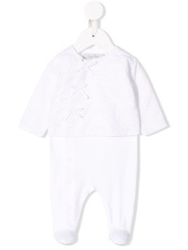 Baby Dior embroidered pyjama babygrow - White
