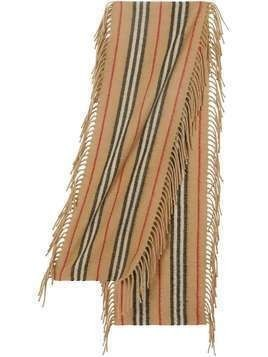 Burberry Kids fringed Icon stripe scarf - Neutrals
