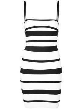 Hervé Léger striped strappy mini dress - White