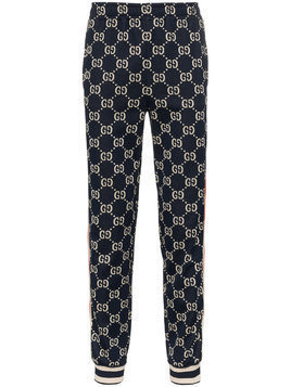 Gucci Blue GG Supreme Print Cotton Blend Sweat Pants