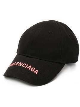Balenciaga logo embroidered cap - Black