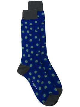 Marni floral patterned ankle socks - Blue