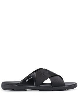 Prada cross straps sandals - Black