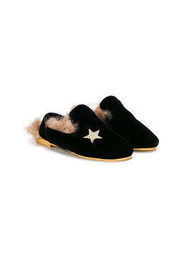 Douuod Kids star embroidered slippers - Black