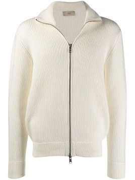 Maison Flaneur ribbed zip sweatshirt - White