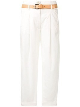 Tela belted cropped trousers - White