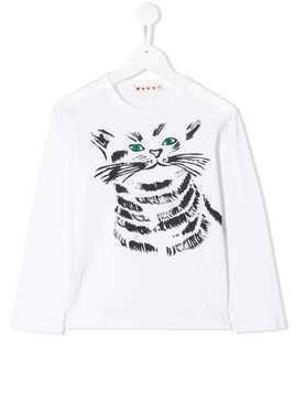 Marni Kids painted cat T-shirt - White