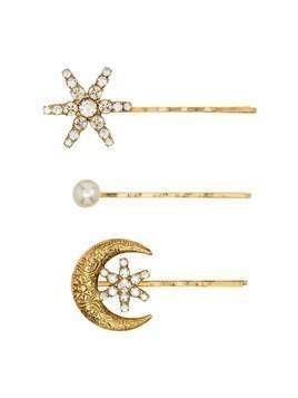 Jennifer Behr crystal and pearl star and moon set of three hair clips - GOLD