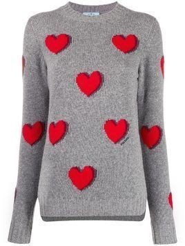 Prada heart motifs jumper - Grey