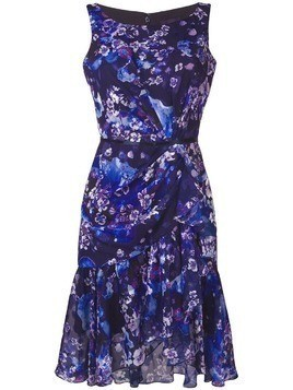 Marchesa Notte floral chiffon cocktail dress - Purple