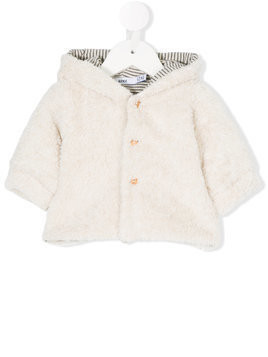 Knot faux shearling hooded coat - White