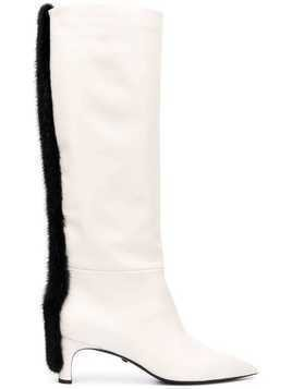 Grey Mer applique knee high boots - White