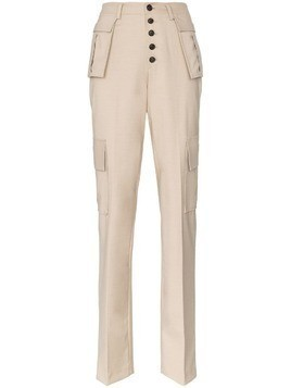 Charm's utility pocket high-waisted straight leg trousers - Neutrals