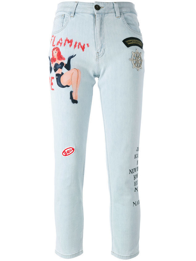 Mr & Mrs Italy tattoo print embellished jeans - Blue