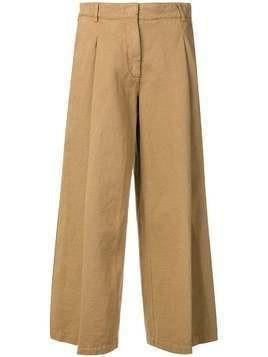 Kiltie flared cropped trousers - Brown