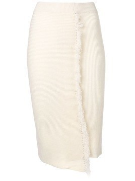 Cashmere In Love high-waisted fringed skirt - White