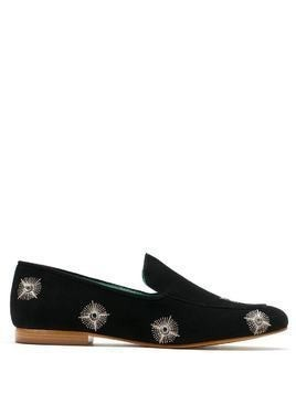 Blue Bird Shoes embellished suede loafers - Black