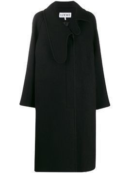 Loewe asymmetric collar single-breasted coat - Black