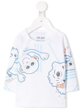 Kenzo Kids animal printed T-shirt - White
