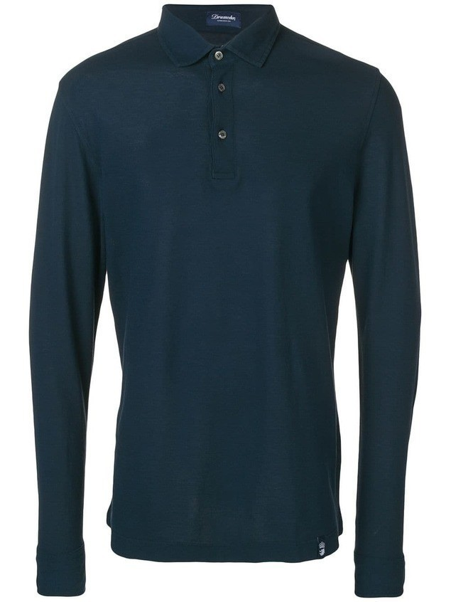 Drumohr long-sleeved polo shirt - Blue