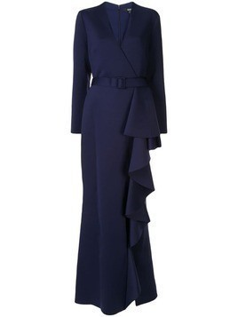 Badgley Mischka ruffled scuba gown - Blue