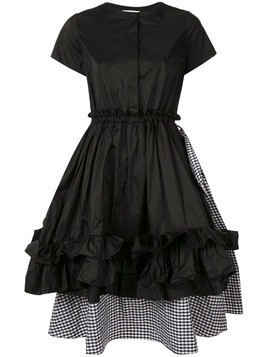 Dice Kayek layered checked ruffle dress - Black