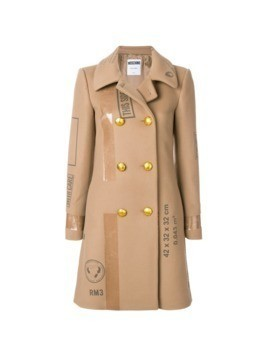 Moschino patch print double breasted coat - Nude&Neutrals