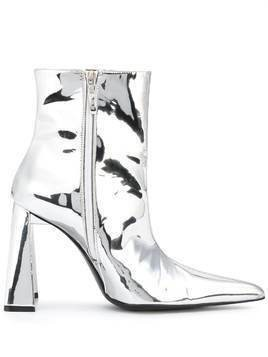 Area metallic pointed ankle boots - Silver