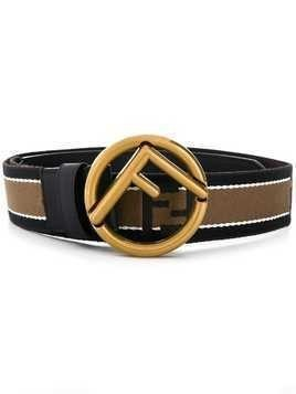Fendi striped logo buckle belt - Black