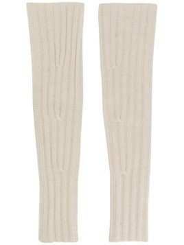 Cashmere In Love ribbed fingerless Aspen gloves - White