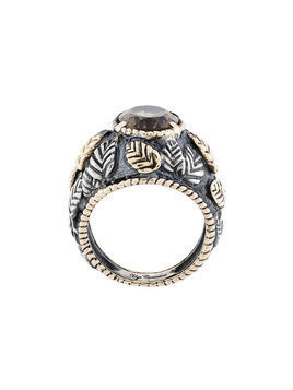 Ugo Cacciatori romantic leaves gem ring - Metallic