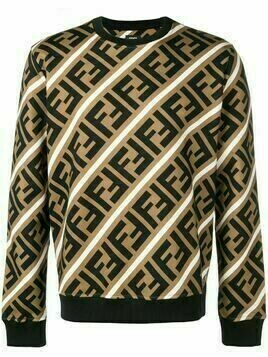 Fendi printed FF logo sweatshirt - Brown