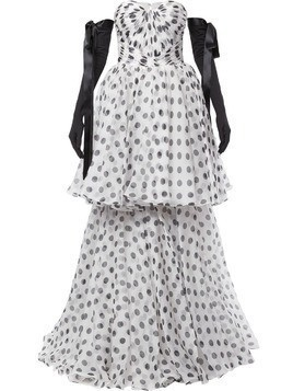 Isabel Sanchis tiered polka dot ball gown - White