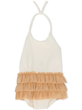 Little Creative Factory Kids ruffled swimsuit - Nude & Neutrals